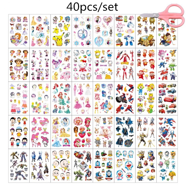 40pcs/set Waterproof Temporary Tattoo Sticker Cute Cartoon Colorful Fake Tattoo For Kids Women Tatouage Temporaire