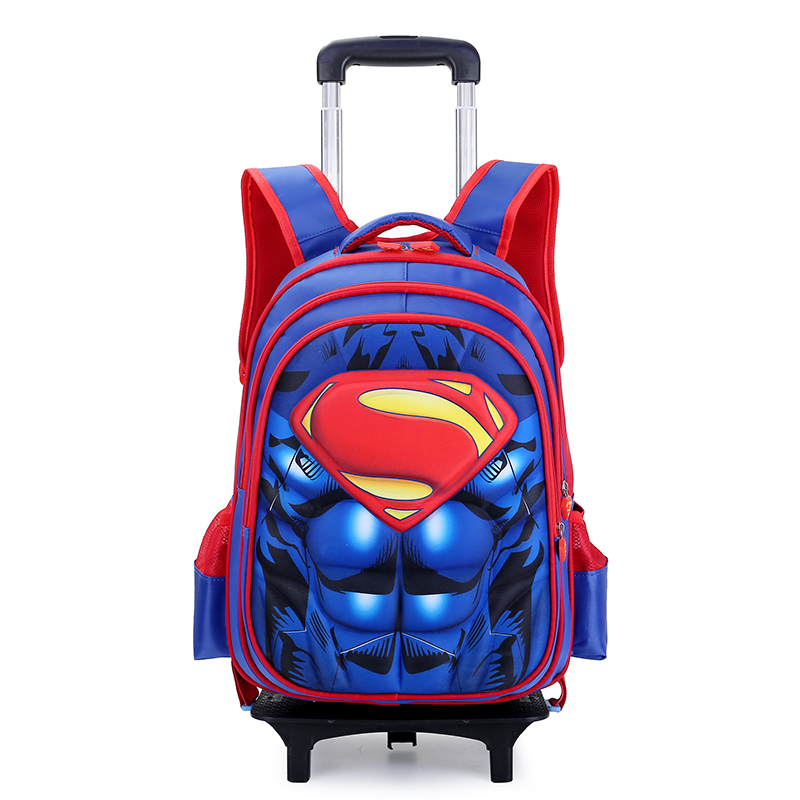 ef21f571f7 Superman 3D Anime travel luggage students school bag Can climb the stairs  cool suitcase Children backpack cartoon boy trolley