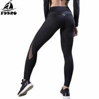 FDBRO New Arrival Women Yoga Pants Skinny Patchwork Leather Slim Leggings For Sport Gym Yoga Run Dance Fitness Training Legging