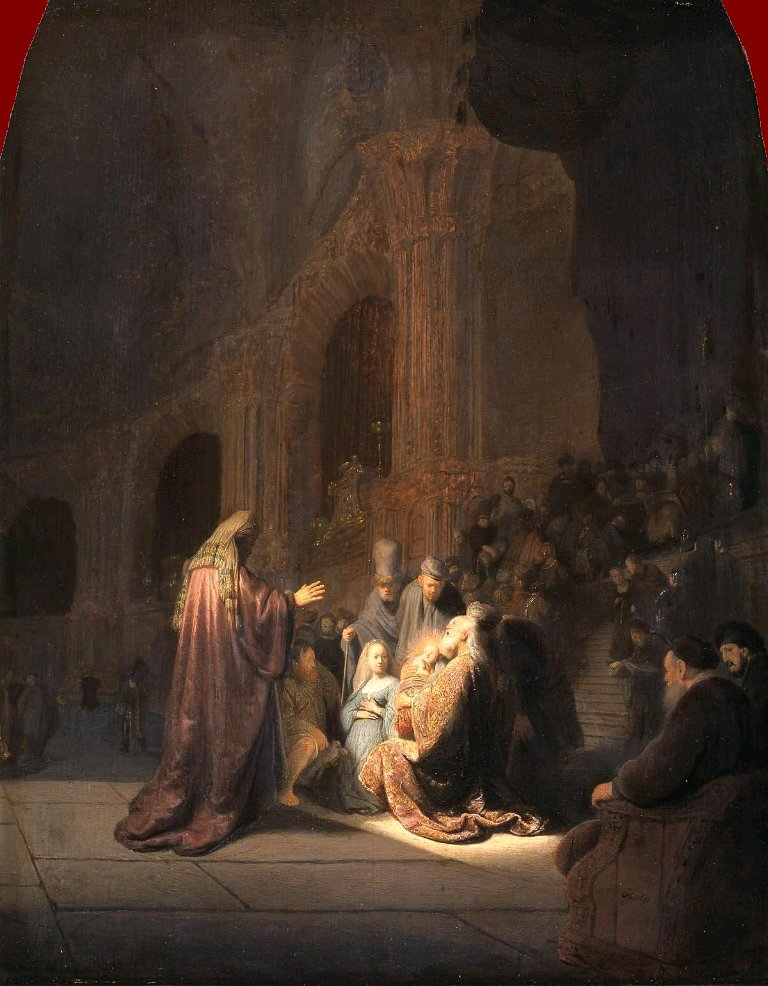 Post Impressionism Portrait painting Simeon in the Temple Rembrandt van Rijn artworks High quality Hand painted