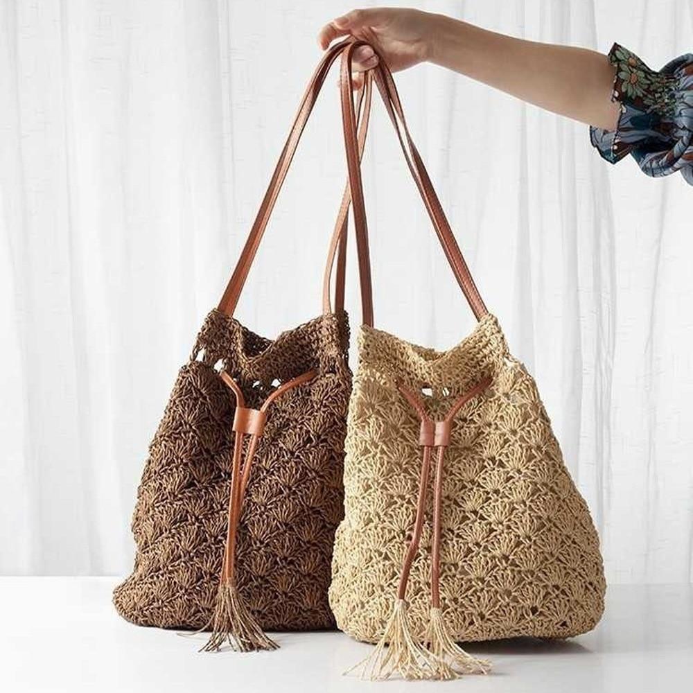 Fashion Lady Straw Bag Hand-Woven Shoulder 2019 New European And American Style Handbag Bohemian Beach