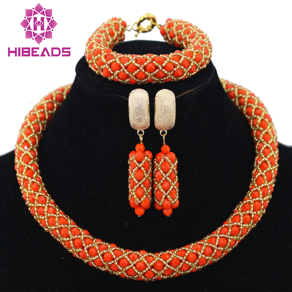 Small Nigerian Wedding Party Orange Crystal Beads Women Fashion Necklace African Beads Lace Jewelry Set New Free Shipping ABF530Small Nigerian Wedding Party Orange Crystal Beads Women Fashion Necklace African Beads Lace Jewelry Set New Free Shipping ABF530