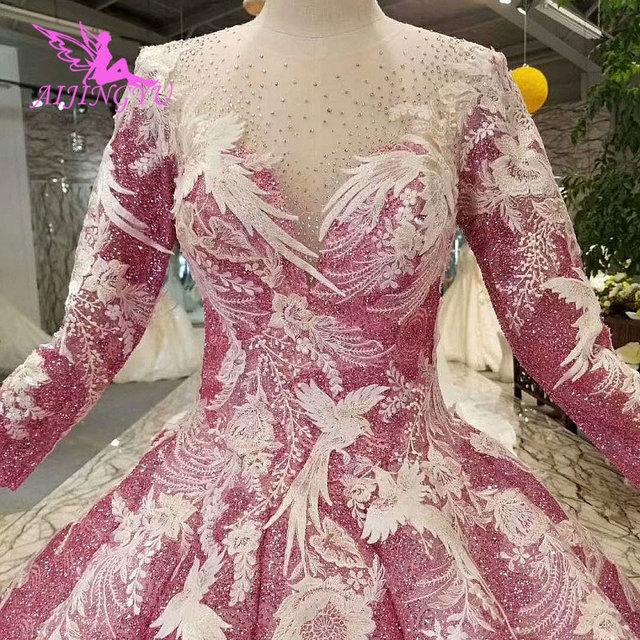 AIJINGYUมุสลิมชุดแต่งงานเม็กซิกันเจ้าหญิงลูกสั้นสีขาวเซ็กซี่ชุด2021 2020งานแต่งงานและชุดเจ้าสาว