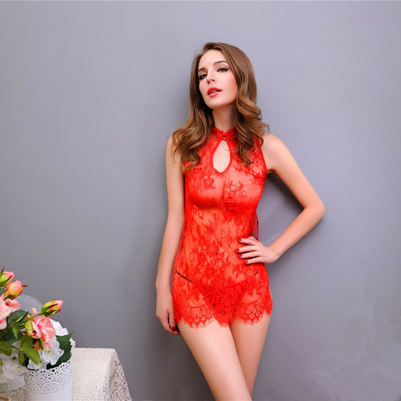 2016 font b Sex b font Products Hot Sale Sexy Lingerie Dress Lace Transparent Exotic Cheongsam