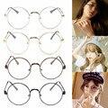 2017 Mulheres Do Metal Do Vintage Óculos Redondos Óculos De Sol Meninas Eyewear Retro Vidros Ópticos Armação de Metal Lente Clara Transparente