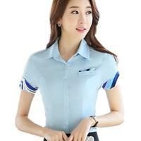 Elegant Women Career Shirts Short Sleeve Button Design Clothing 2016 Office Classic Lady Fashion Blouse Plus