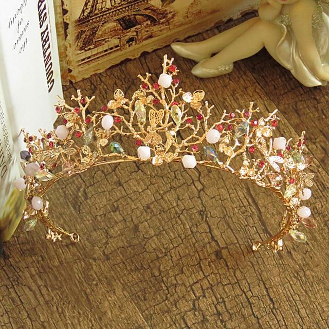 Baroque Gold Branch Wedding Tiara Crown Beaded Bridal Hair Accessories Headpiece Vintage Women Tiara