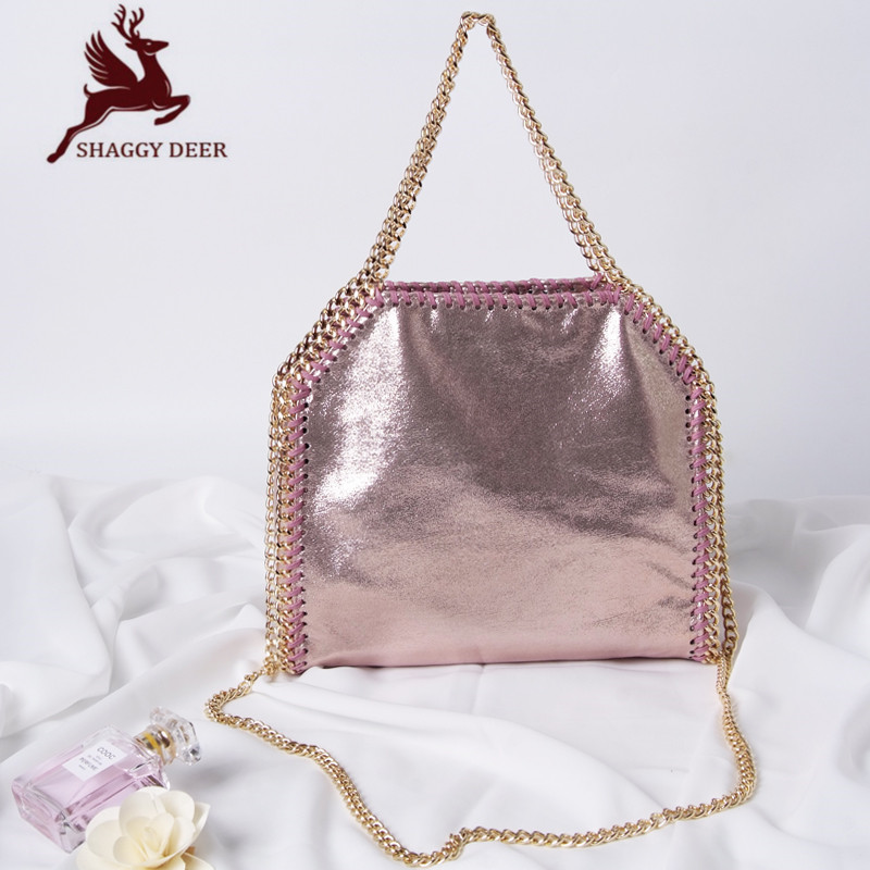 New List Shaggy Deer Fala Top Quality Crack PVC Material Ladies stella Chain Bag Small Fold-Over 3 Chain Crossbody Shoulder Bag mini gray shaggy deer pvc quilted chain bag with cover real picture