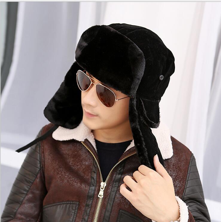 Hat Ushanka Russian-Fur Bombers Trapper Winter Solid for Men Warm Fancy High-Quality