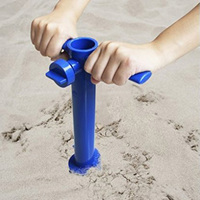 Plastic Sun Beach Umbrella Sand Anchor Auger Screw Universal Size Safe Stand For Strong Winds Blue