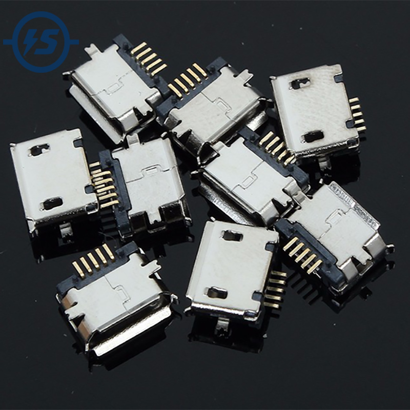 USB Female Socket Jack 5P Connector 50Pcs/lot 5pin MK5P Micro 5-Pin SMD Copper Shell Data Port MK5P For MP3/4/5 Mobile Tabletels