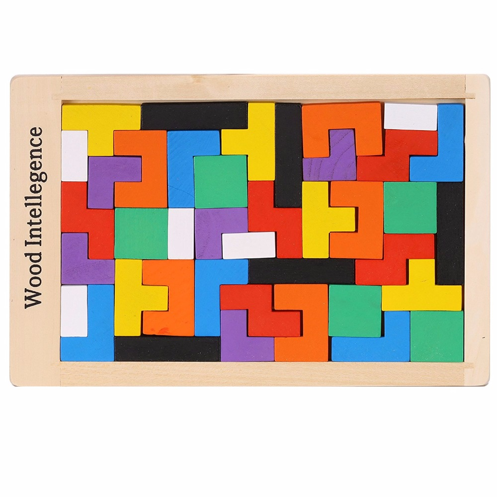 Colorful Wooden Tangram Brain-Teaser Puzzle Tetris Preschool Magination Intellectual Educational Kids Toy For Game Baby Children