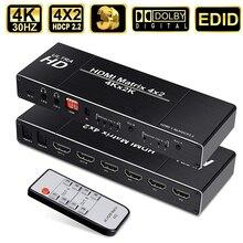 2020 4K HDMI מטריקס 4x2 מתג HDMI ספליטר עם EDID & IR מרחוק 3D HDMI מתג 4x2 PS4 4K 30Hz HDMI מטריקס החלף 4 ב 2 החוצה
