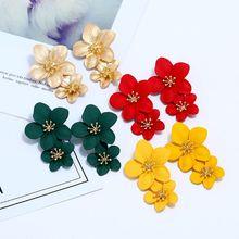 Boho Geometric Long Stud Earrings For Women Of New Flower Color Gold Punk Fahsion Vintage Maxi Wedding Jewelry Earring