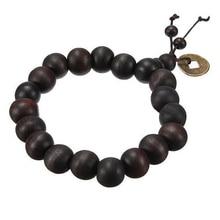 Hot! Buddhist Tibetan Buddha Strand Bracelet Vintage Wood Beads Bracelet Men Natural Handmade Male Bracelet Bangle P
