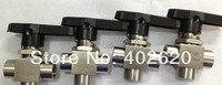 2pcs/lots US standard, T type stainless steel three way ball valve, NPT thread 1/8, T type , SS304 ball valve