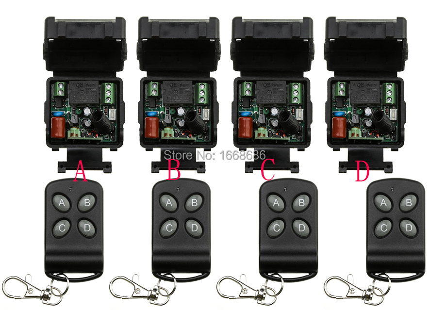 NEW AC220V 1CH 10A wireless remote control switch system teleswitch 4* transmitter & 4*receiver relay smart house z-wave new restaurant equipment wireless buzzer calling system 25pcs table bell with 4 waiter pager receiver