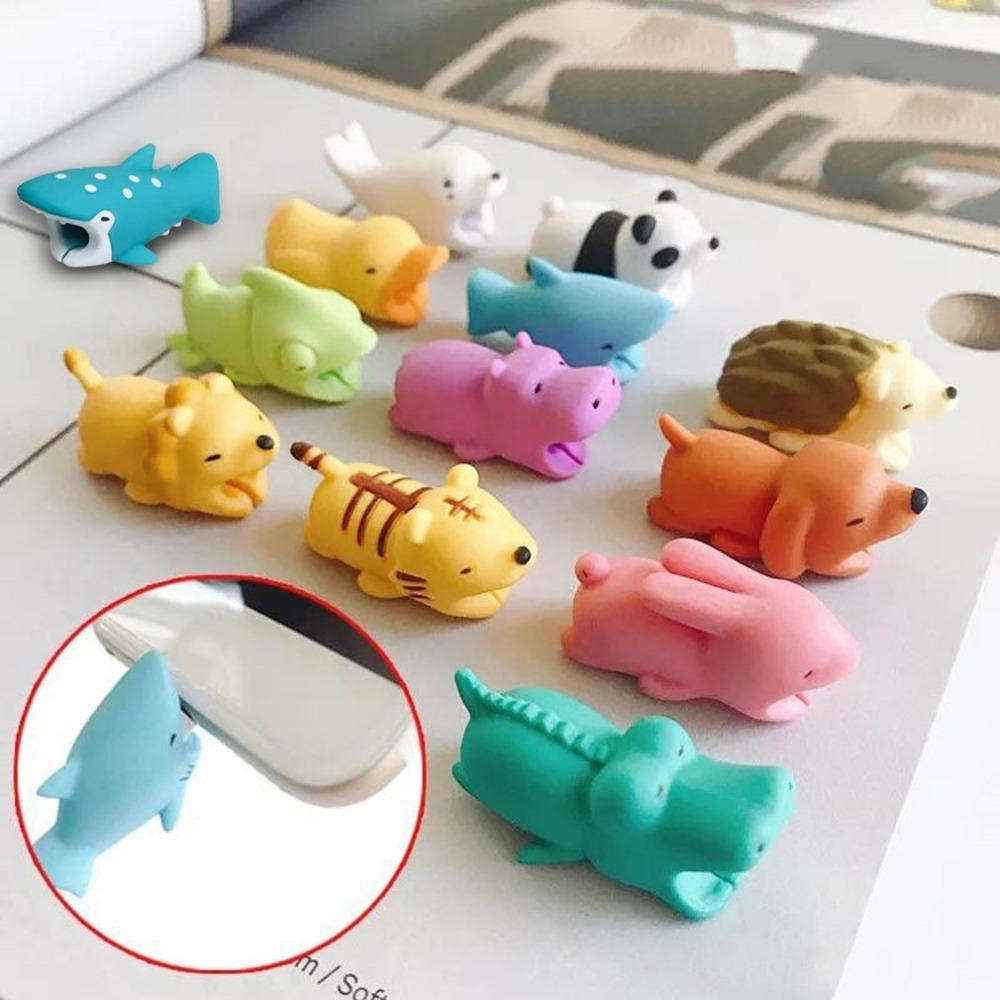 Animal Bite USB Cable Protector Cute Cable Organizer Data Line Management Charging Safe Protection Cable Winder For IPhone 8 7 6