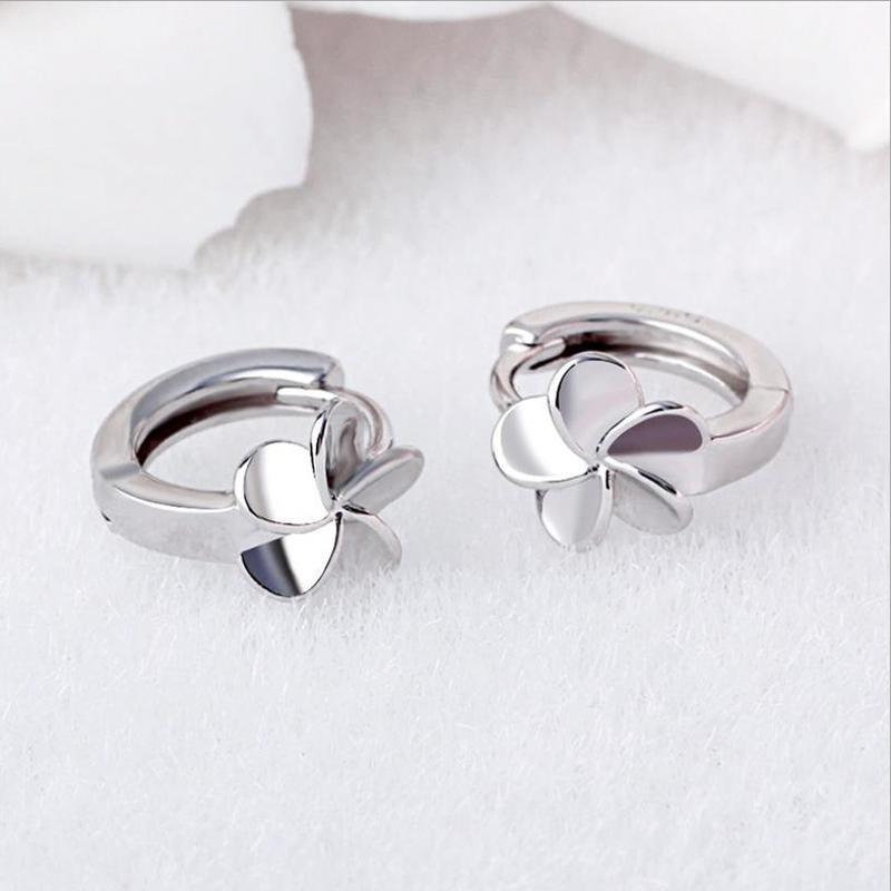 New Arrival Girls Flower Silver Hoop Earrings Jewelry Fashion Lady Silver 925 Earrings For Women Accessories Female Birthday in Hoop Earrings from Jewelry Accessories