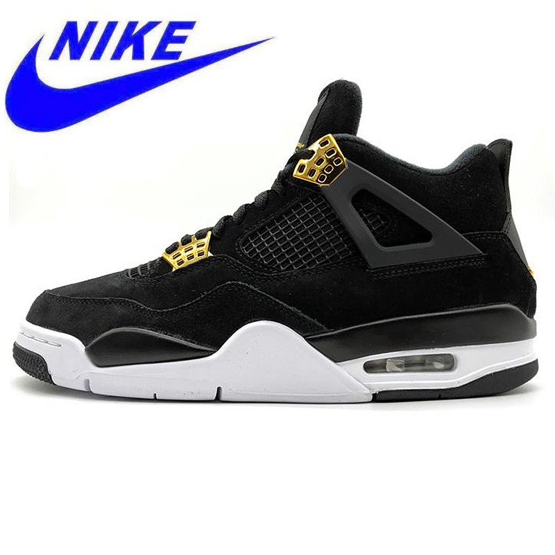 cheaper a8346 1b98b Original Nike Air Jordan 4 Royalty AJ4 Joe 4 Luxury Black Gold Suede Men s  Basketball Shoes,Original Outdoor Sports Shoes 308497