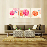 3 Panel Large Modern Flower And Butterfly Canvas Painting Cuadros Wall Picture For Living Room High