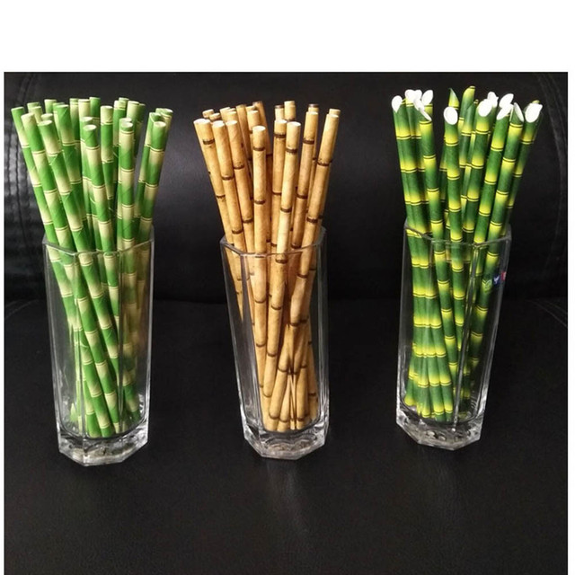 25 pcs Green Yellow Bamboo Print Tiki Paper Straws Environmental Paper Drinking Straws For Wedding Birthday Bar/Pub Party Supply