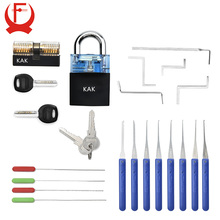 KAK Locksmith Practice Lock Tension Wrench Tool Pick Set Hook Combination Padlock Broken Key Extractor Tools Hardware With Cover цена