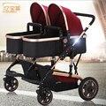 Entrega grátis! quatro cores sentar e dormir Bora gêmeos two-way carrinho de bebê carrinho de criança dobrável luz de alta qualidade 2 in1 carrinhos