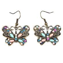 Unique and Vintage Bohemian Women Butterfly Dragonfly Rhinestone Charm Hook Earrings Jewelry Gift(China)