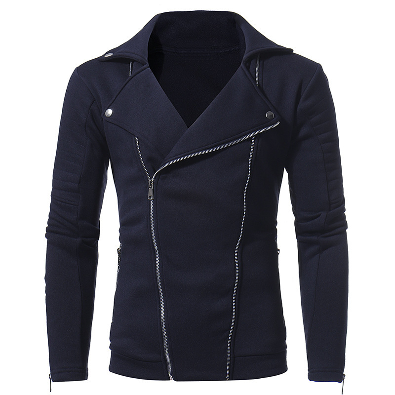 Autumn Winter jackets New Personality Double Pull Zipper Men Fashion Casual Slim Coat jacket man