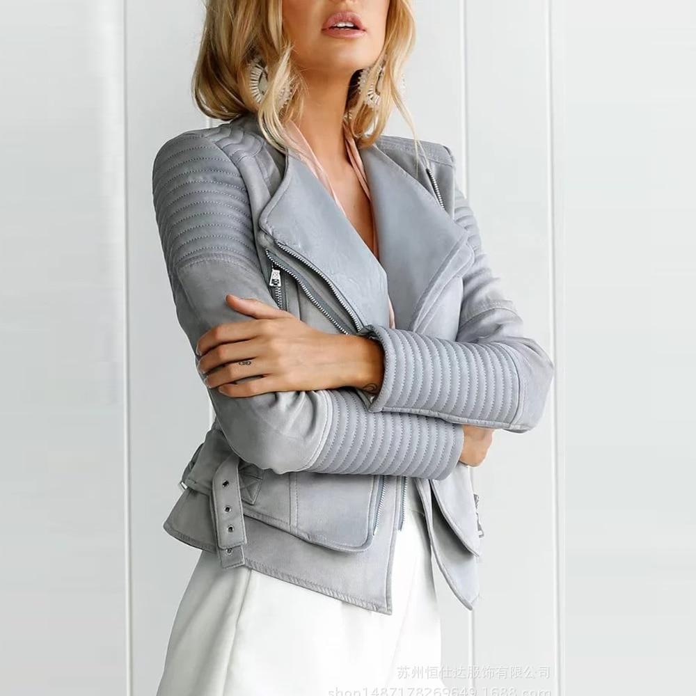 Suede Women Leather Jacket 2019 Slim Turn Down Collar Motorcycle Coat Long Sleeve Zipper Black Gray Faux Leather Jackets Female