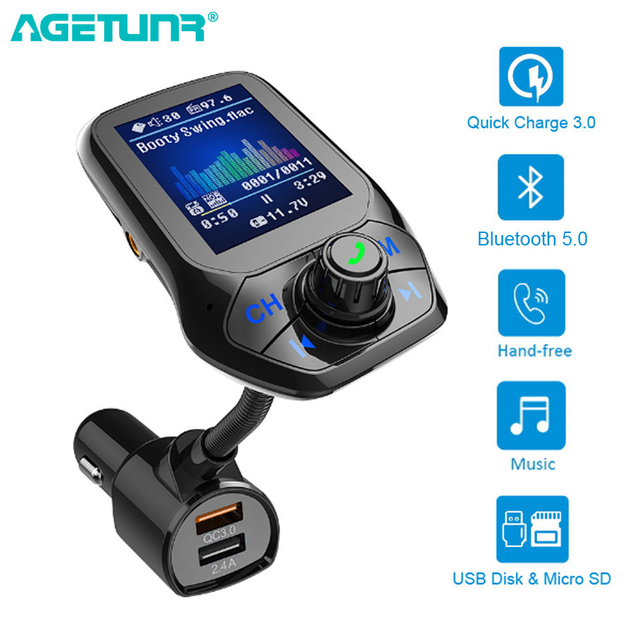 Bluetooth 5.0 FM Transmitter Car AUX USB MP3 Player Wireless Handsfree Car Kit With QC3.0 Quick Charge 3 USB Ports Car Charger
