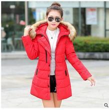 С Длинными рукавами хлопок женщин 2017 зима новый Корейский моды пряжки волосы воротник перо хлопка куртки холодная зима хлопок женщины winte