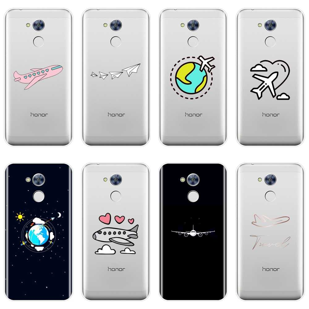 Phone Case Silicone For Huawei Honor 6 5A 4X 5X 6X Airplane Star Travel Flying Soft Back Cover For Huawei Honor 4C 5C 6A 6C Pro