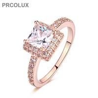 PRCOLUX Fashion Band Female Princess Cut Ring Rose Gold Color Jewelry White CZ Wedding Engagement Rings