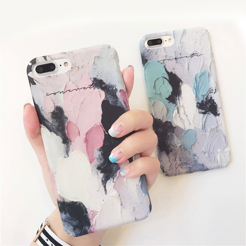 Boucho Colorful Oil Painting Matte Back Cover For iphone 6 6s 7 8 plus Capa Artistic Graffiti Phone Cases For iphone X Case