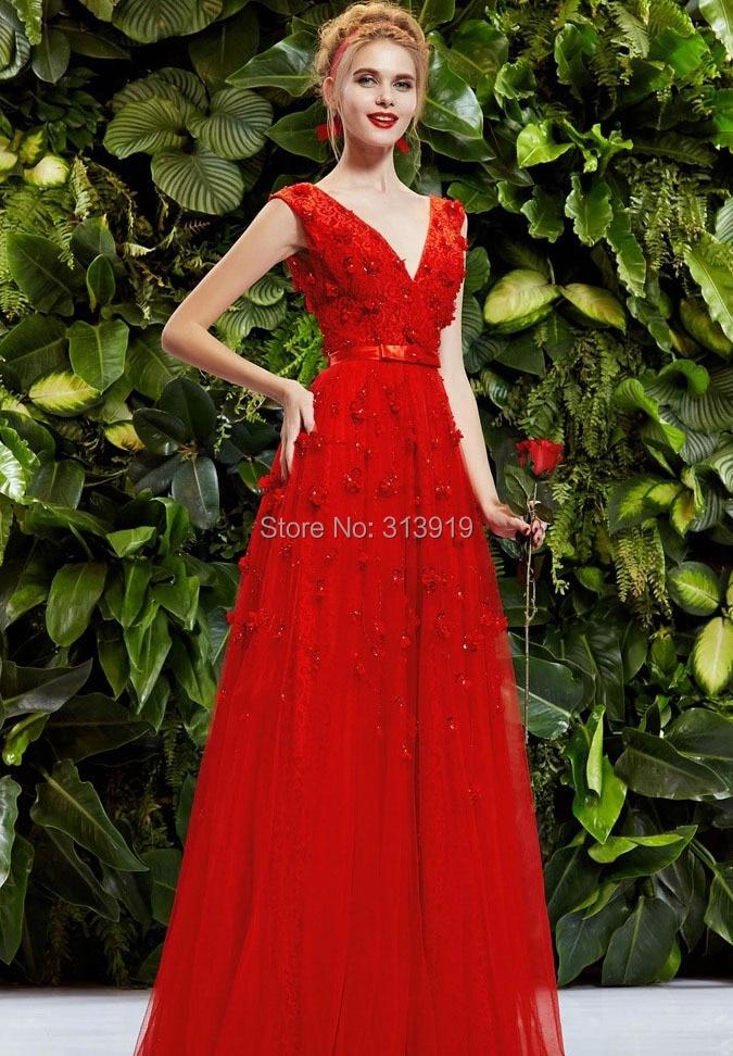 v neck floral red prom dresses long 2017
