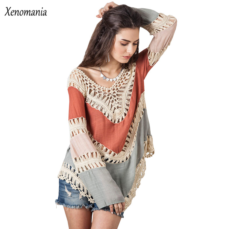 Hippi Bluz Kimono Boho Crochet Qadın Bluz 2017 Blusa Feminina Uzun Qollu Köynək Blusas Vintage Seksual Toplar Camisa Plus Ölçü