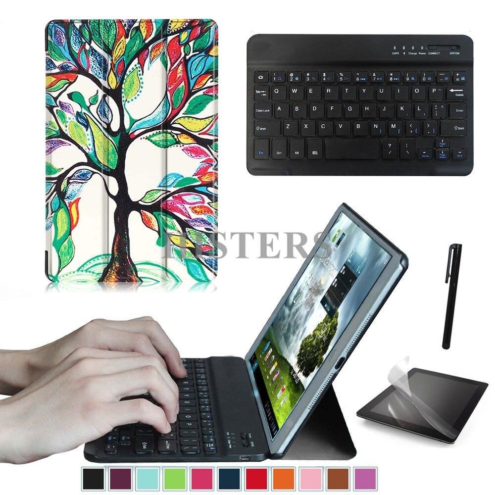 Accessory Kit For Huawei Mediapad T3 8.0 KOB-L09 KOB-W09 - Printed Cover Case+Bluetooth Keyboard+Film+Stylus
