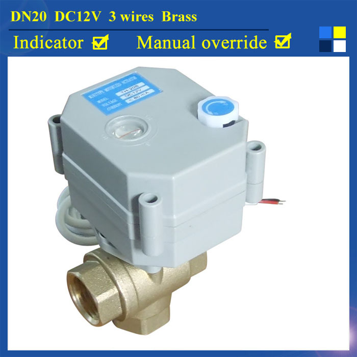 3/4'' DC12V 3 wires 3 way T type brass electric ball valve for water heating HVAC air conditional fan coil 1 dc12v 2 wires 3 way electric valve t type 2 wires manual override available for water heating hvac air conditional