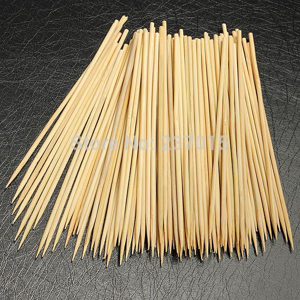 100packlot Bamboo Wooden Bbq Party Skewers Disposable Sticks Meat
