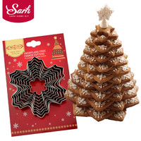 9pcs Set 3D Metal Stainless Steel Biscuits Snowflake Tree Cookies Cutters Set For Kitchen Baking Supplies