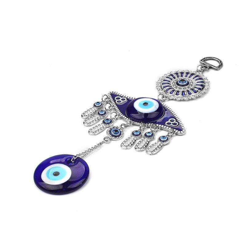 Turkish Style Glass Evil Eye Nazar Hanging Charm Antique Silver Plated Evil Eye Key Chain Keyrings