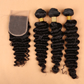7A Grade Unpressed Brazilian Deep Wave With Closure Brazilian Curly Virgin Hair With Closure Human Hair  DHL Free shipping
