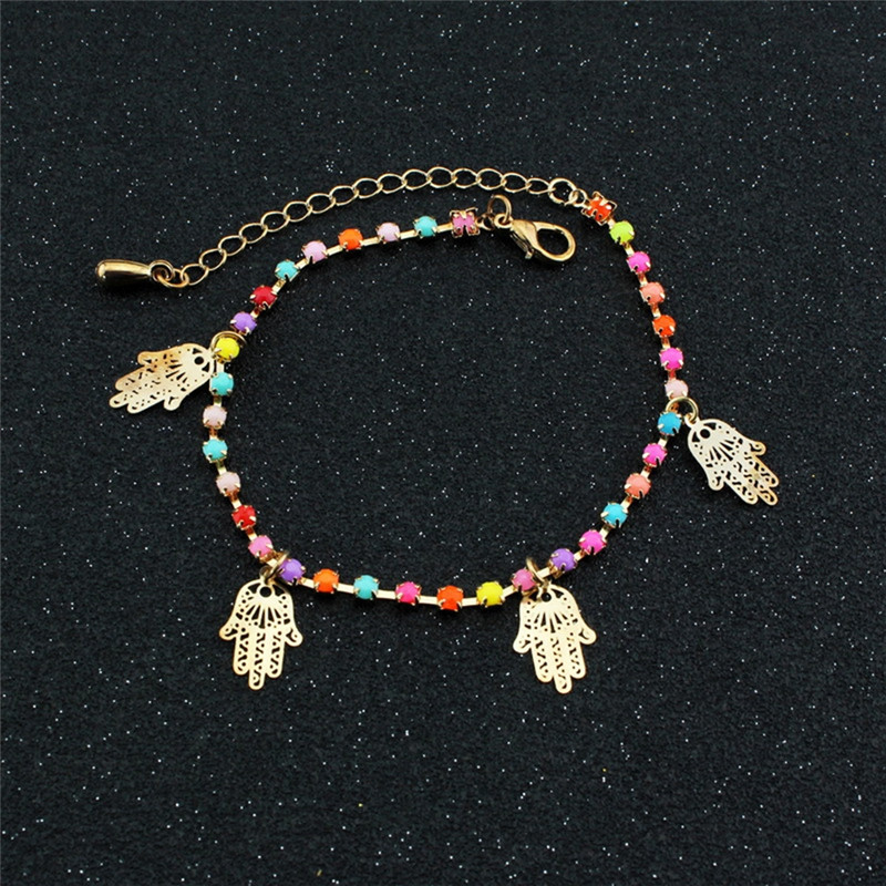 Fatima Hand Coin Anklets for Women With Bell Sandal Beach Acrylic Beads Chain Gold Color Anklet Bracelet Jewlery