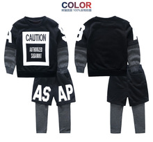 Spring models boy child suit European and American fashion stitching three false letters children suit for
