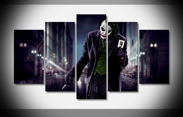 5piece Movie Poster Prints Joker Canvas Art Modern Paintingigraphy Cuadros Decoracion Halloween Gift Wall Picture