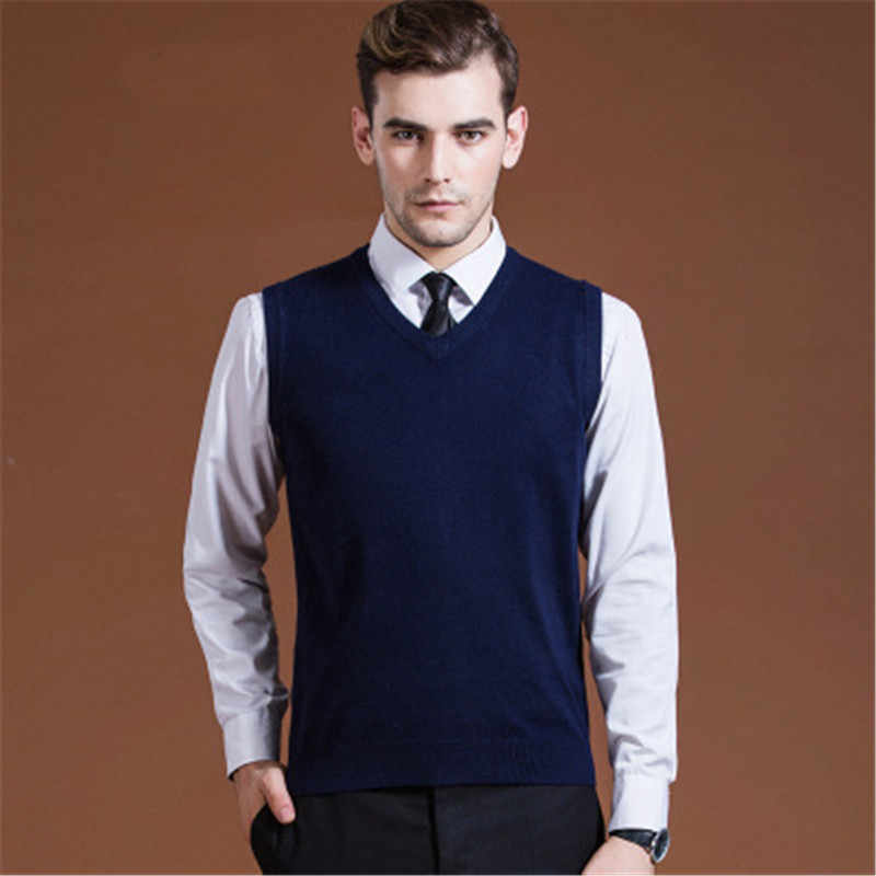 Mens Sweater Vest Wool Pullover Sleeveless Homm Casual Knit Waistcoats Men Business V Neck Vest Male Knitted Cashmere