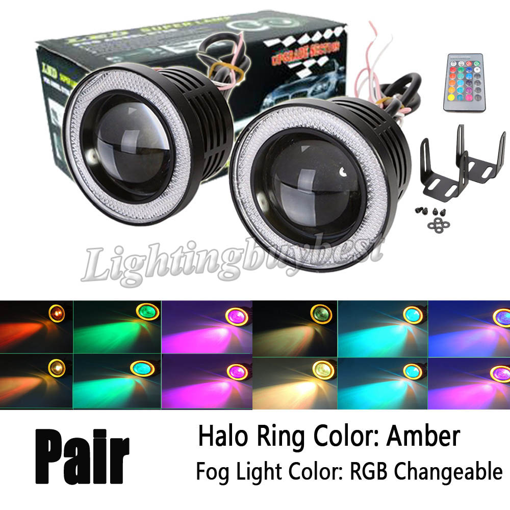 2X 3 inch 3.5 inch 3200Lm RGB LED COB Projector Fog Light Headlight with Amber Angel Eyes Halo Ring Car Wireless Control 12V