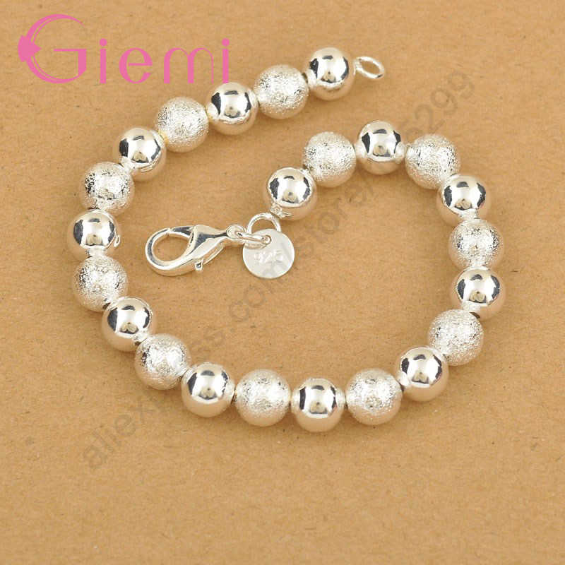 Hot Classic Elegant 925 Sterling Silver Beads Bracelet Bangles For Women Pretty wedding Jewelry Birthday Anniversary Gift